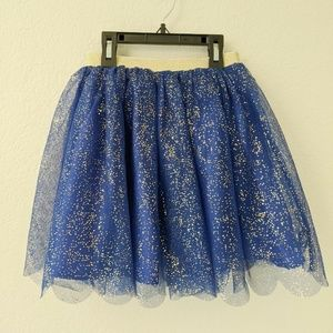 Hanna Andersson 130 or US 8 Blue Tulle Gold Skirt